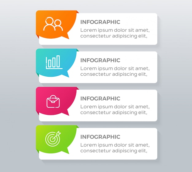 Elementos de infografía empresarial de 4 pasos Vector Premium