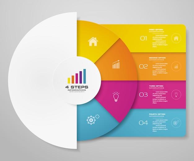 Elementos de infografía de gráfico de ciclo de 4 pasos para presentación de datos. Vector Premium