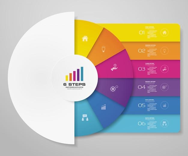 Elementos de infografía de gráfico de ciclo de 6 pasos para presentación de datos. Vector Premium