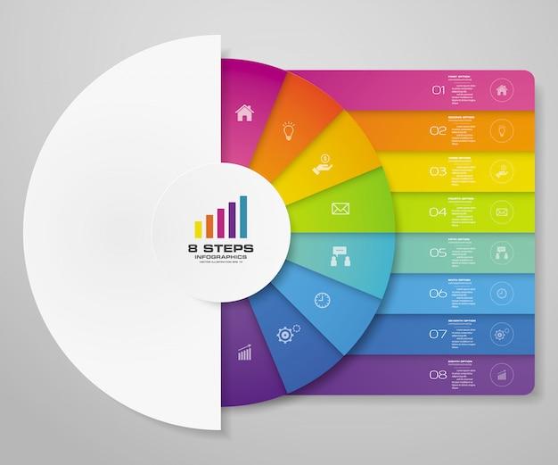Elementos de infografía de gráfico de ciclo de 8 pasos para presentación de datos. Vector Premium