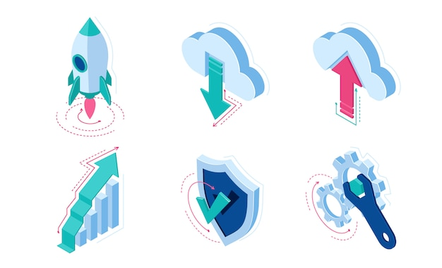 Elementos de infografía de iconos isométricos para sitio web vector gratuito