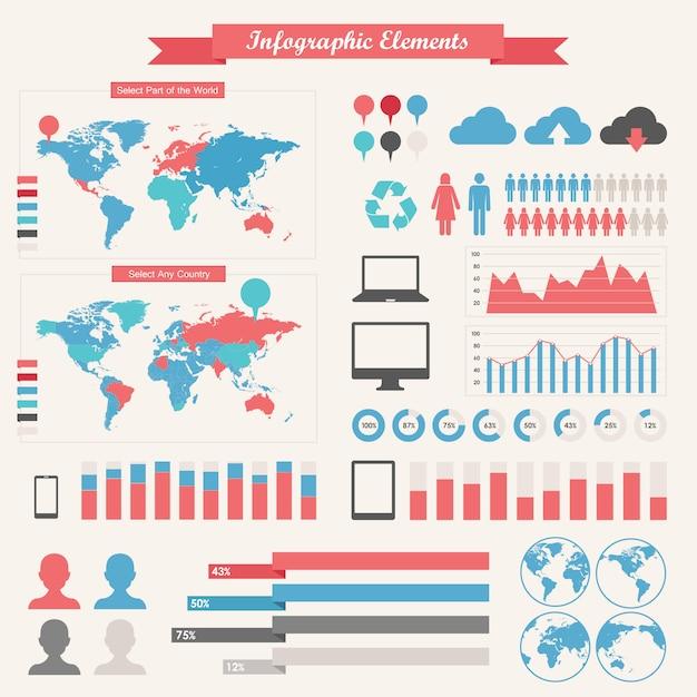 Elementos de infografía de la industria de ti Vector Premium