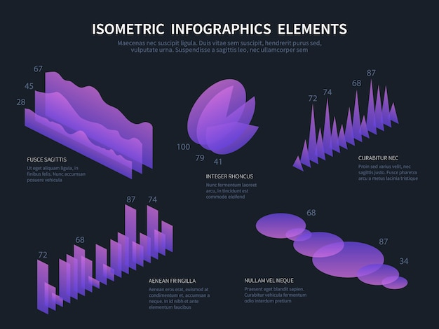 Elementos de infografía isométrica gráficos comerciales, cuadros de datos estadísticos y diagramas de barras financieras. Vector Premium
