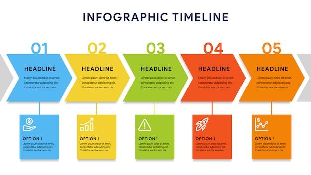 Elementos de infografía de línea de tiempo con cinco pasos y diagrama Vector Premium