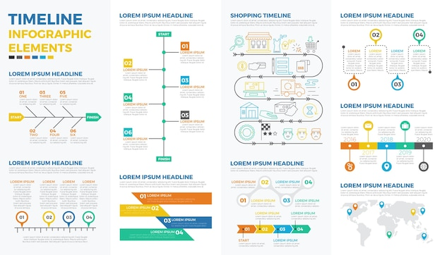 Elementos de infografía de línea de tiempo de negocios Vector Premium