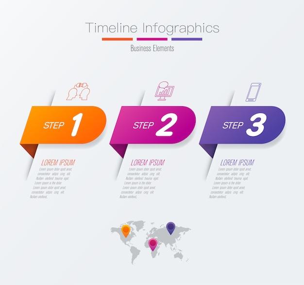Elementos de infografía de la línea de tiempo para la presentación. Vector Premium