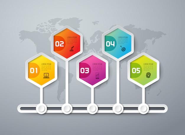 Elementos de infografía de línea de tiempo Vector Premium