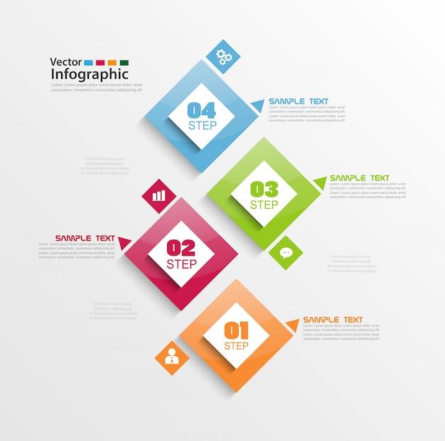 Elementos de infografía moderna con cuatro pasos y cuadrados coloridos. Vector Premium