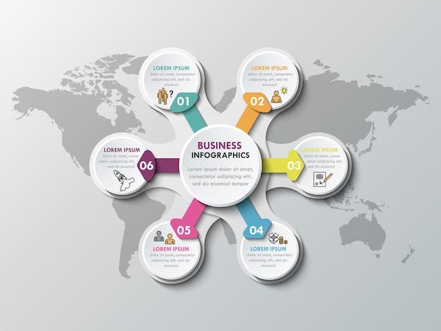 Elementos de infografía de papel 3d para seis opciones. infografía de negocios de metaball Vector Premium