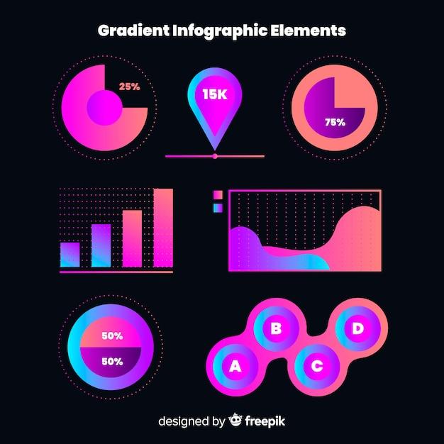Elementos de infografía planos degradados vector gratuito