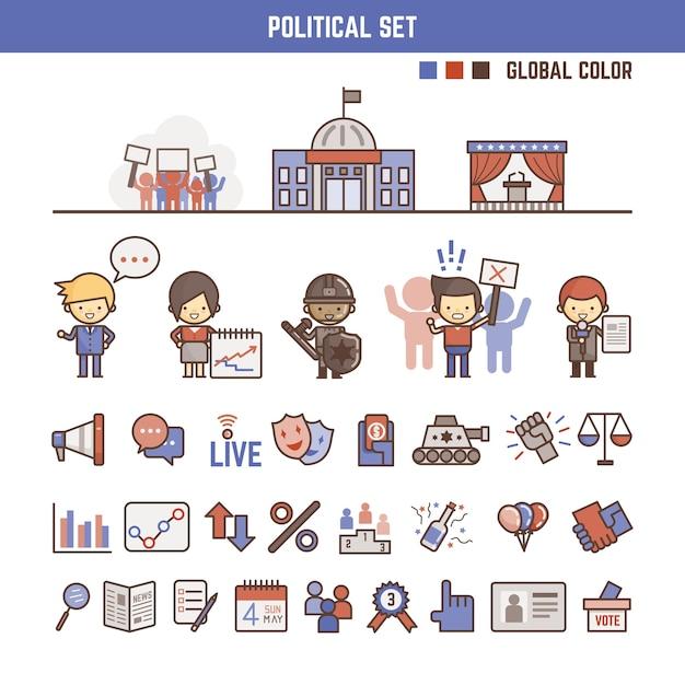Elementos de infografía política para niños Vector Premium