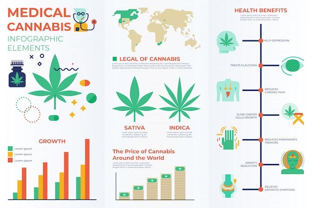 Elementos infográficos de cannabis medicinal. Vector Premium