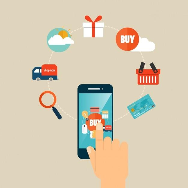 Elementos infográficos de compra con smartphone Vector Gratis