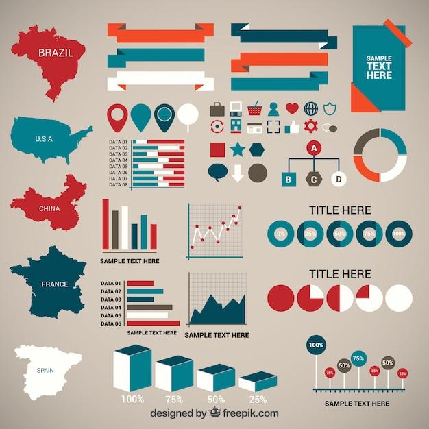 Elementos infográficos de demografía vector gratuito