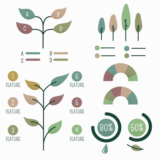 Elementos infográficos dibujados a mano vector gratuito