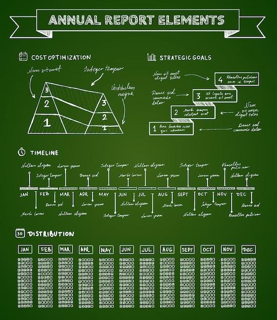 Elementos infográficos de pizarra vector gratuito