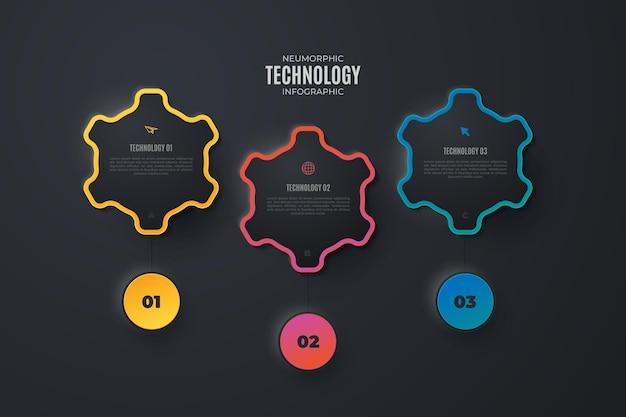 Elementos infográficos de tecnología colorida Vector Premium