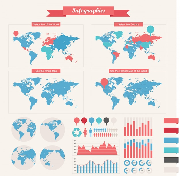 Elementos infograficos Vector Premium