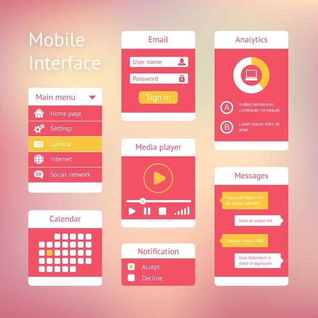 Elementos de interfaz para aplicaciones móviles. el panel enumera el calendario y el chat del jugador vector gratuito