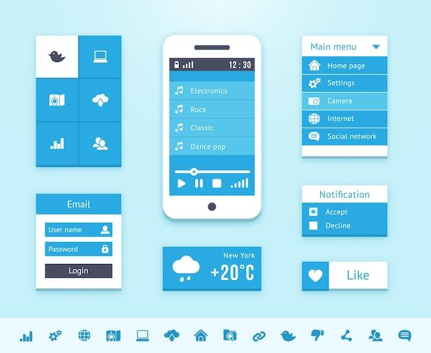 Elementos de la interfaz del sistema operativo en color azul. vector gratuito