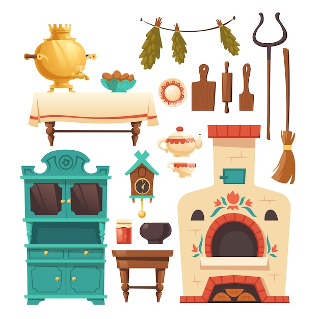 Elementos interiores de la antigua cocina rusa con horno vector gratuito