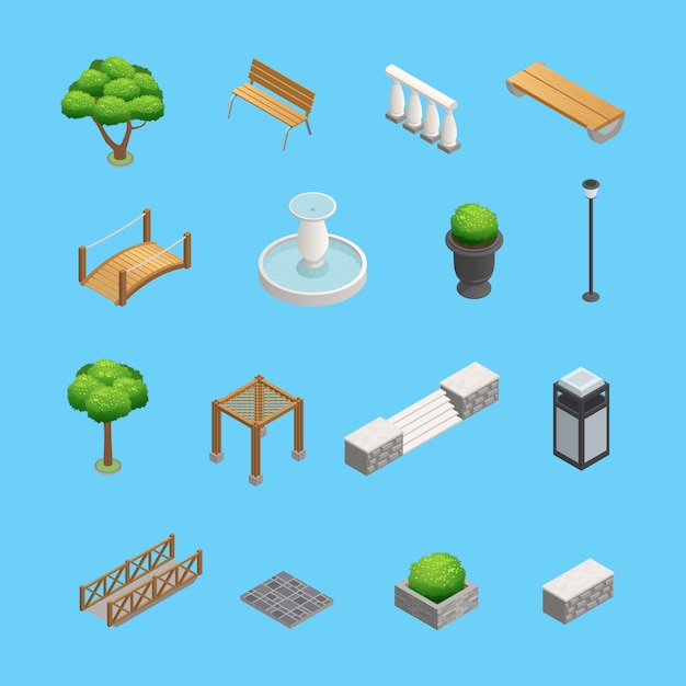 Elementos isométricos de paisajismo para el diseño de jardines y parques con plantas, árboles y objetos aislados en vector gratuito