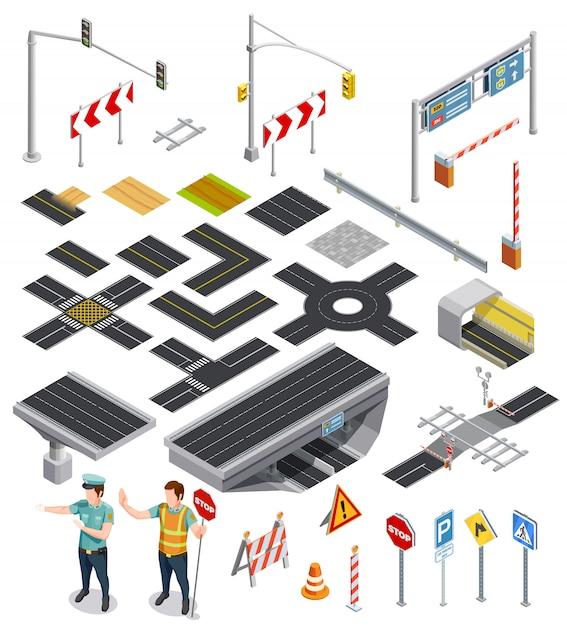 Elementos isométricos de secciones de carretera vector gratuito
