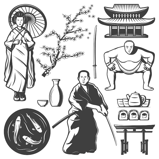 Elementos de japón vintage con samurai jugador de sumo geisha jarra espada sushi té carpas koi edificio sakura rama aislada vector gratuito