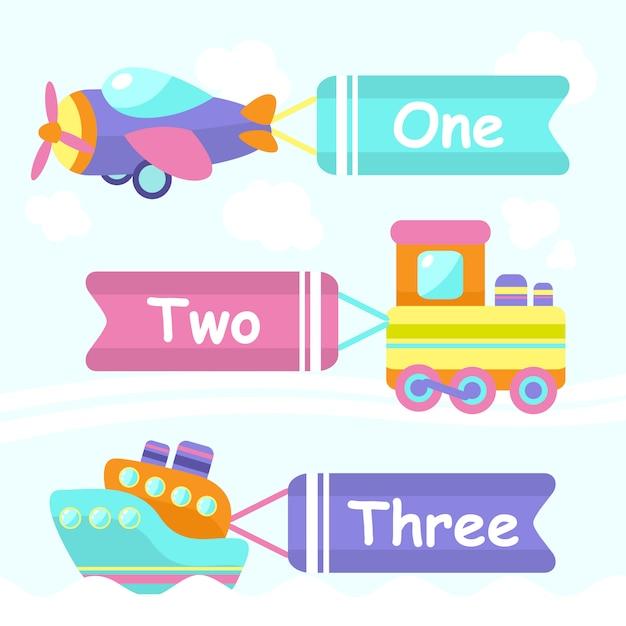 Elementos de juguete de transporte vector gratuito