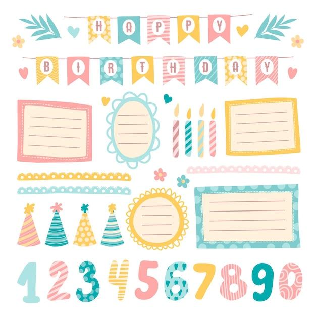 Elementos lindos del álbum de recortes de cumpleaños Vector Premium