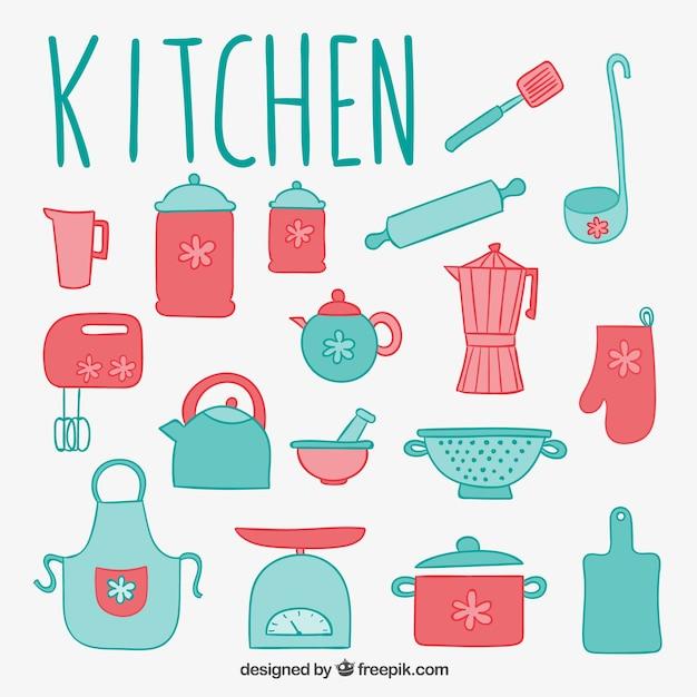 Elementos lindos de cocina descargar vectores premium for Elementos cocina