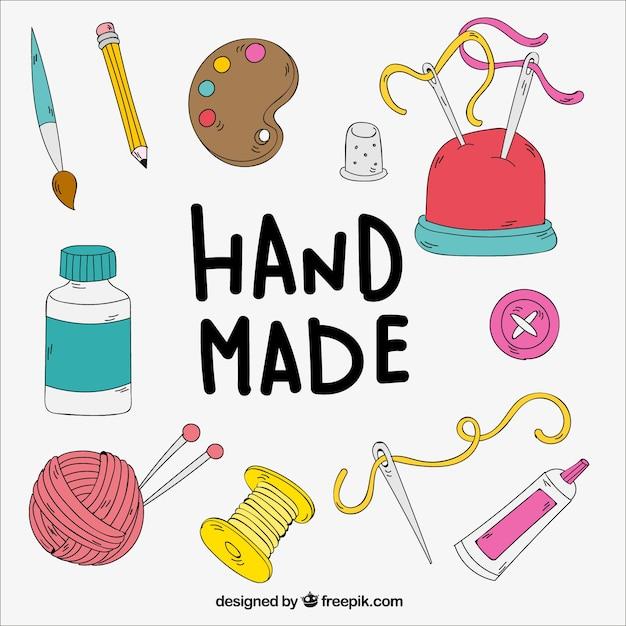 Elementos de manualidades dibujados a mano vector gratuito