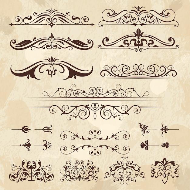 Elementos de marco vintage. caligrafía bordes y esquinas filigrana clásica plantilla de diseño retro vector Vector Premium