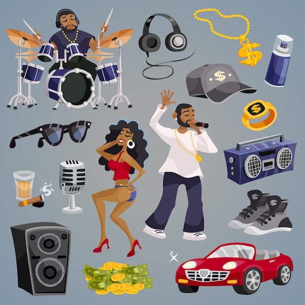 Elementos de la música rap vector gratuito