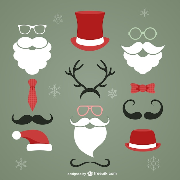 Elementos de navidad de estilo hipster vector gratuito