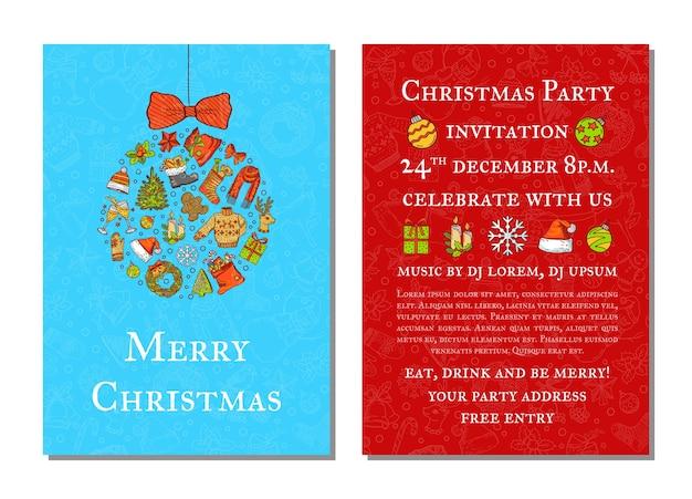 Elementos navideños de colores dibujados a mano con santa, árbol, regalos y campanas, plantilla de invitación a fiesta con juguete de árbol de navidad y lugar para ilustración de texto Vector Premium