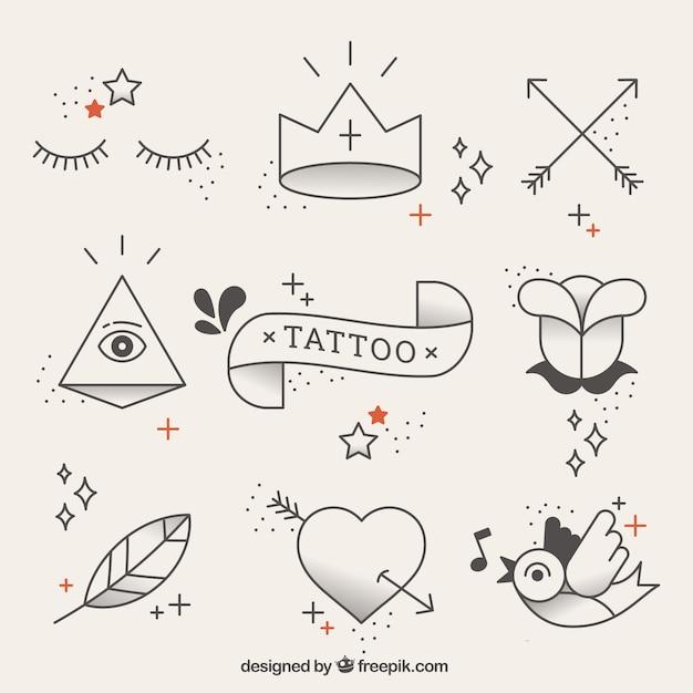 Elementos originales de tatuajes en estilo lineal | Descargar ...