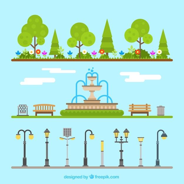 Elementos del parque al aire libre vector gratuito