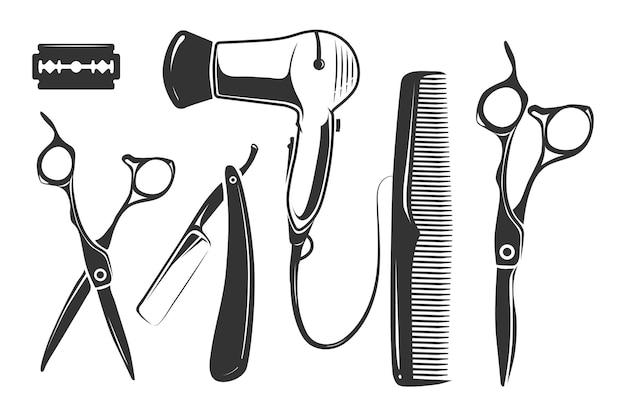 Elementos de peluquería para logotipo, etiquetas e insignias. vector gratuito