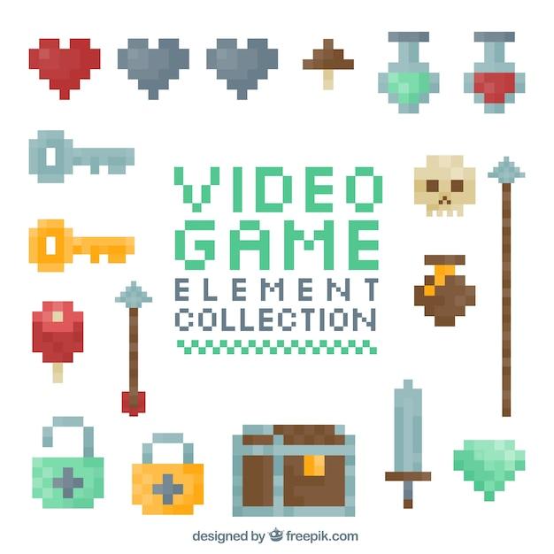 Elementos pixelados de videojuegos Vector Premium