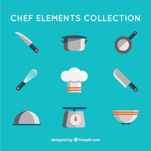 Elementos planos de cocina y gorro de chef descargar - Los utensilios del chef ...