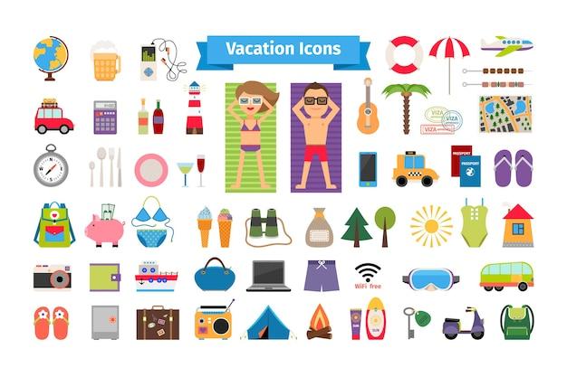 Elementos planos de descanso de vacaciones y verano. turismo y brújula, viaje y binoculares, bañador y paraguas. vector gratuito