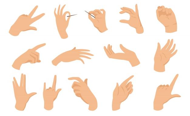 Elementos planos de gestos con las manos femeninas vector gratuito