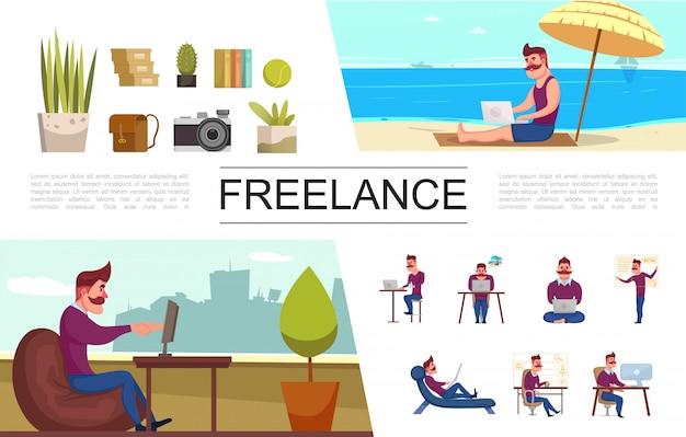 Elementos planos independientes con freelance que trabaja en la oficina y en libros de bolsas de cámara de plantas de playa tropical vector gratuito