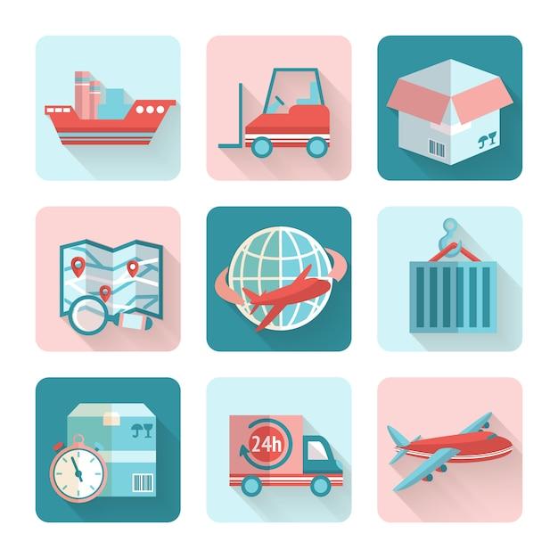 Elementos planos logísticos vector gratuito