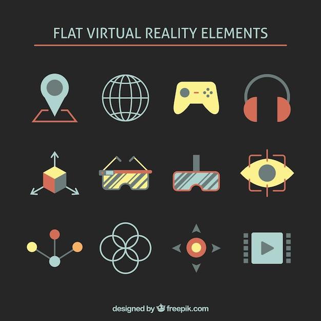 Elementos planos de realidad virtual vector gratuito
