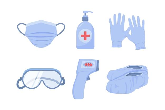 Elementos de protección de equipos de virus. vector gratuito