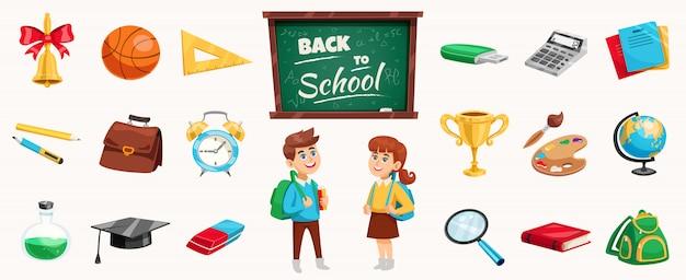 Elementos de regreso a la escuela y niños vector gratuito