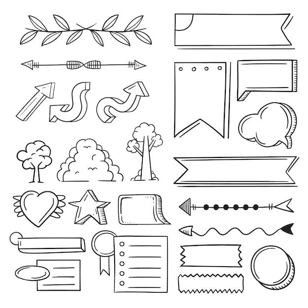 Elementos de la revista bullet aislados sobre fondo blanco vector gratuito