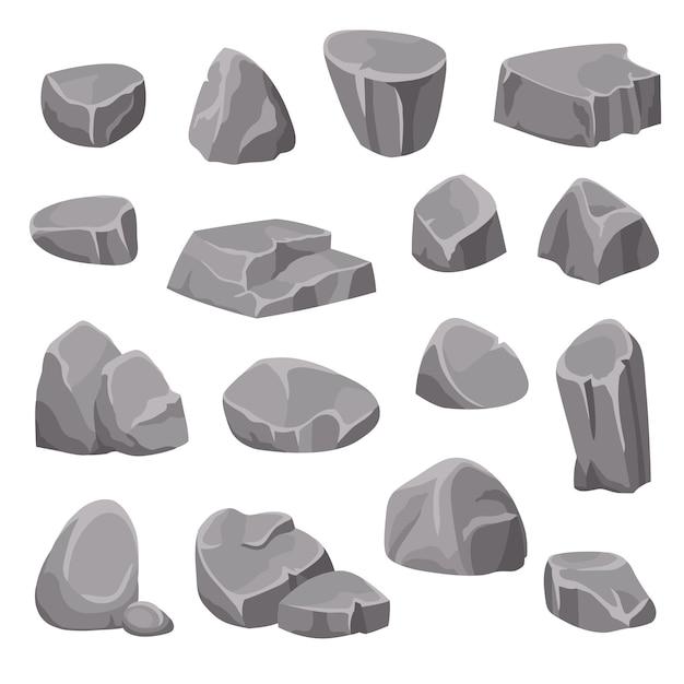 Elementos de rocas y piedras vector gratuito